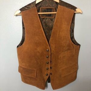 WINLET Brown Leather Vest Size Small